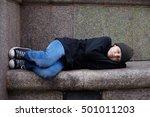 young homeless boy sleeping on... | Shutterstock . vector #501011203