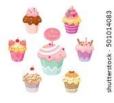 cupcake set for christmas day. | Shutterstock .eps vector #501014083