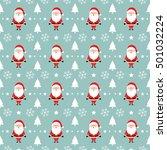 santa claus cartoon pattern... | Shutterstock .eps vector #501032224