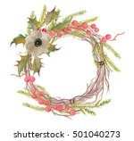 watercolor painting wreath with ... | Shutterstock . vector #501040273