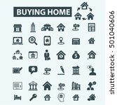 buying home icons  | Shutterstock .eps vector #501040606