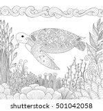 zendoodle design of turtle... | Shutterstock .eps vector #501042058