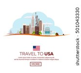 travel to usa  new york poster... | Shutterstock .eps vector #501043330