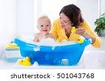 happy baby taking a bath... | Shutterstock . vector #501043768