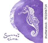 white hand drawn seahorse over... | Shutterstock . vector #501046714