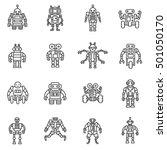 robot  icons set. bot  symbols... | Shutterstock .eps vector #501050170
