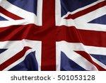 closeup of union jack flag  | Shutterstock . vector #501053128