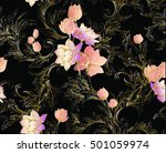 Baroque Pattern With Bouquets...