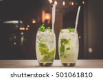 mojito cocktail on the bar. | Shutterstock . vector #501061810
