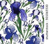 seamless pattern with iris... | Shutterstock .eps vector #501065530