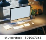 hipster workspace with computer ... | Shutterstock . vector #501067366