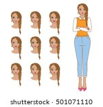 set of emotions. young sexy... | Shutterstock .eps vector #501071110