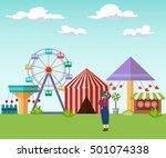 background amusement park  tent ... | Shutterstock .eps vector #501074338