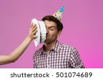 Man With Cake On Face Over...
