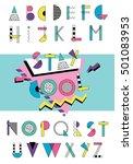 hand drawn abstarct alphabet.... | Shutterstock .eps vector #501083953