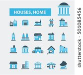 houses  home icons  | Shutterstock .eps vector #501085456