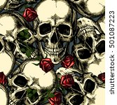 pattern of skulls with red roses | Shutterstock .eps vector #501087223