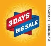 3 days big sale arrow tag sign.
