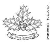 holly or ilex aquifolium or... | Shutterstock .eps vector #501100414