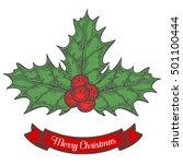 holly or ilex aquifolium or... | Shutterstock .eps vector #501100444