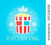 king popcorn concept for cinema ... | Shutterstock .eps vector #501106330