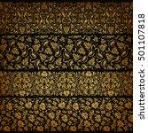 set of horizontal golden lace... | Shutterstock .eps vector #501107818