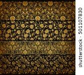 set of horizontal golden lace... | Shutterstock .eps vector #501107830