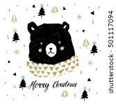 cute black bear head with... | Shutterstock .eps vector #501117094