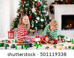 happy little children in... | Shutterstock . vector #501119338