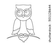 Owl Icon Outline. Singe Animal...