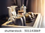 Stock photo cups and glasses in hotel room 501143869