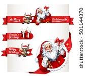 vector set of vintage christmas ... | Shutterstock .eps vector #501144370