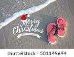 merry christmas from a tropical ... | Shutterstock . vector #501149644