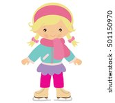 ice skating girl vector cartoon ... | Shutterstock .eps vector #501150970