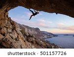 male rock climber climbing... | Shutterstock . vector #501157726