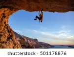 male climber on overhanging... | Shutterstock . vector #501178876