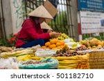local vietnamese woman selling... | Shutterstock . vector #501182710