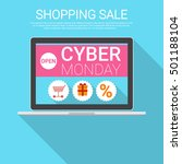 cyber monday big shopping sale... | Shutterstock .eps vector #501188104