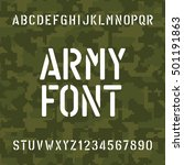 army alphabet font. stencil... | Shutterstock .eps vector #501191863