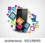 smartphone with colorful... | Shutterstock . vector #501198490