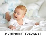 four months old baby with blue... | Shutterstock . vector #501202864