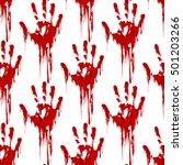 bloody hand print seamless... | Shutterstock .eps vector #501203266