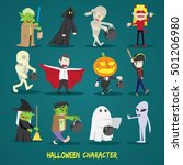 set of halloween characters .... | Shutterstock .eps vector #501206980
