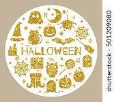 halloween gold icons set in... | Shutterstock .eps vector #501209080