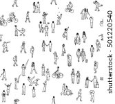 seamless pattern of tiny people ...