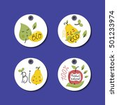 eco and bio food round labels... | Shutterstock .eps vector #501233974