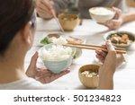japanese women eat rice | Shutterstock . vector #501234823