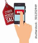 smartphone cyber monday hand buy | Shutterstock .eps vector #501252949