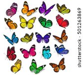 Stock photo big set of colorful monarch butterfly isolated on white background 501263869