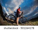 man in helmet and glasses stay... | Shutterstock . vector #501264178